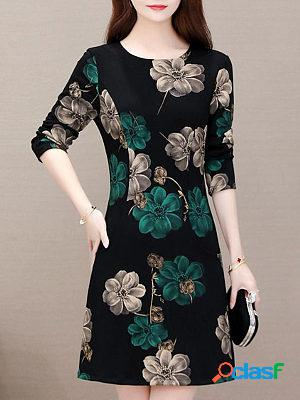 New round neck long sleeve printed shift dress