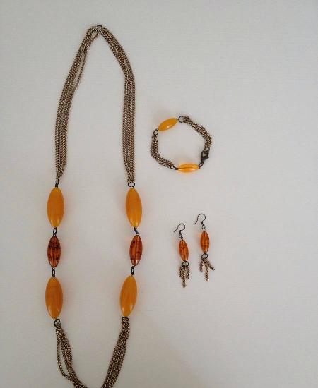 Conjunto colar, brincos e pulseira étnicos