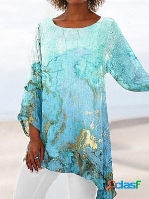 Casual round neck long sleeve fashion printed top