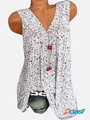 V neck loose fitting printed sleeveless t-shirts