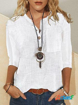Casual v neck solid shirts tops