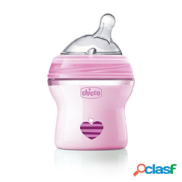 Chicco naturalfeeling biberão silicone rosa 0m+ 150ml