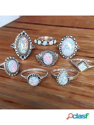Fashionable retro 8-piece set rings