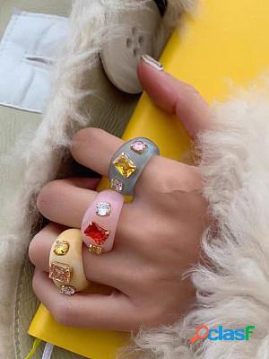 Handmade candy color inlaid cute gemstone acrylic resin ring