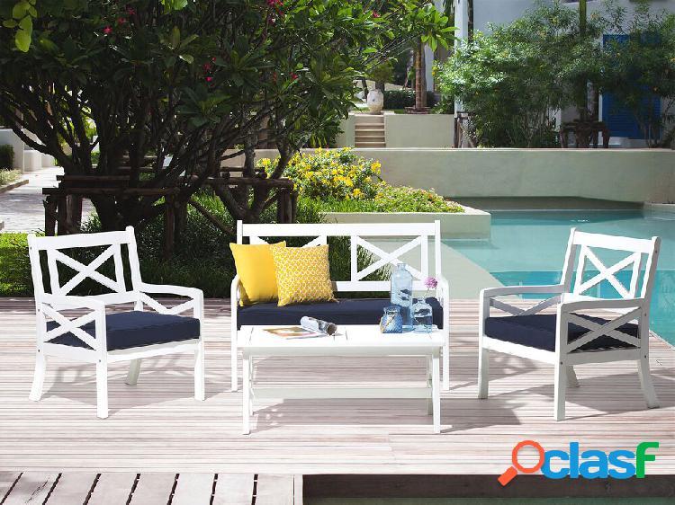 Conjunto de jardim de 4 lugares em madeira branca com almofadas azuis baltic