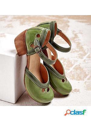 Women's retro block heel sandals