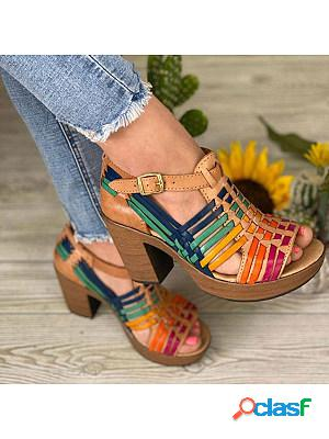 Women's vintage woven hollowed-out chunky heel sandals