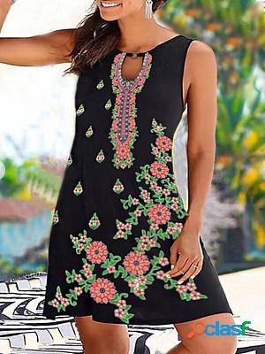 Printed v neck loose casual beach dress
