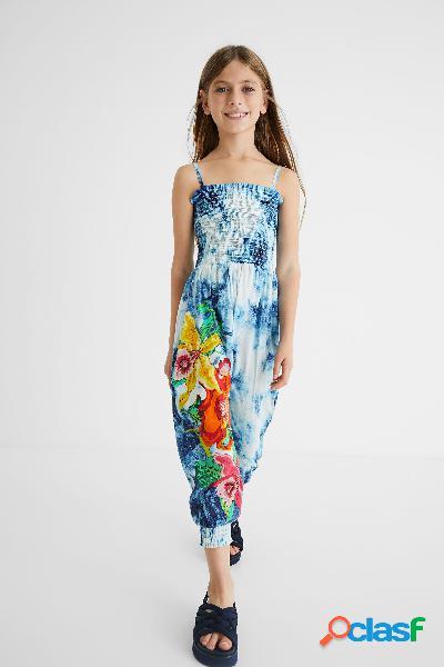 Macacão comprido em algodão com tie-dye e flores - blue - 3/4