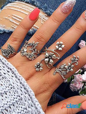 Leaf flower 4 piece set ring