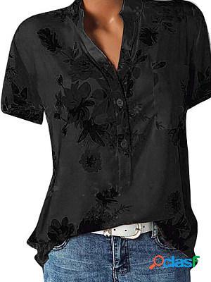 V neck loose fitting floral printed blouses