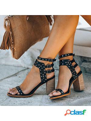 Women's personality rivet hollowed-out heel sandals