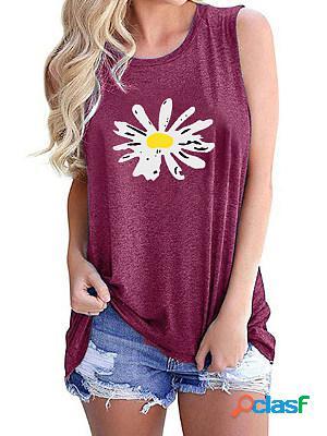 Daisy Print Round Neck Sleeveless T-shirt