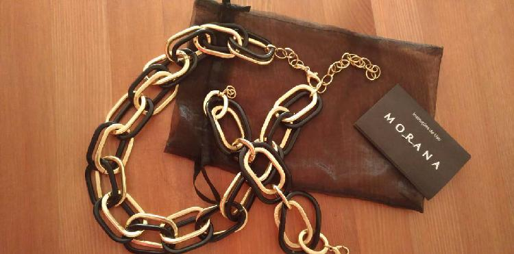 Conjunto colar e pulseira metal preto e dourado