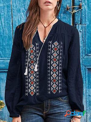 Round neck printed loose casual long-sleeved blouse