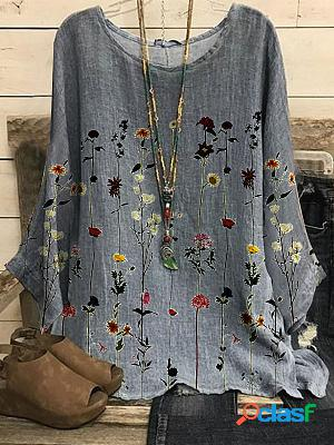 Round neck casual loose floral print long-sleeved blouse