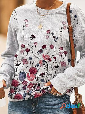 Round neck casual loose floral print sweatshirt