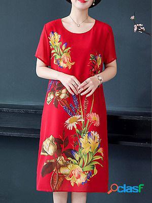 Round neck chiffon flower print shift blouse