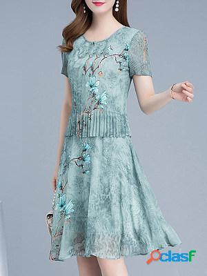 Round neck chiffon print two-piece maxi dress