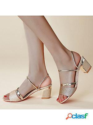 Plain chunky high heeled peep toe casual date sandals