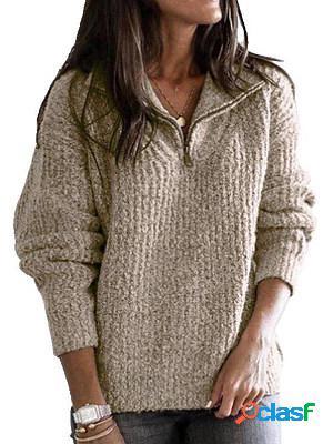 V neck zips plain long sleeve knit pullover