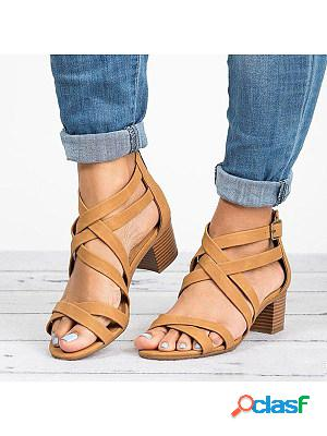 Plain chunky high heeled peep toe date office platform sandals
