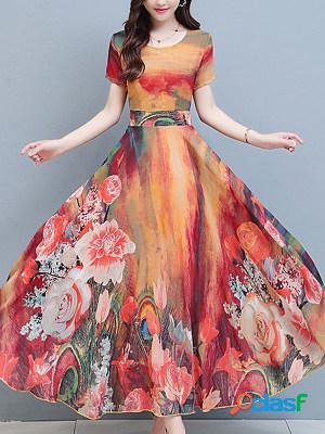 Round neck chiffon flower print maxi dress
