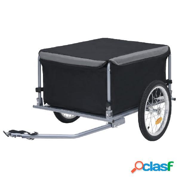 Vidaxl reboque de carga para bicicleta 65 kg preto e cinzento