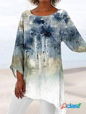 Round neck printed loose long sleeve blouse