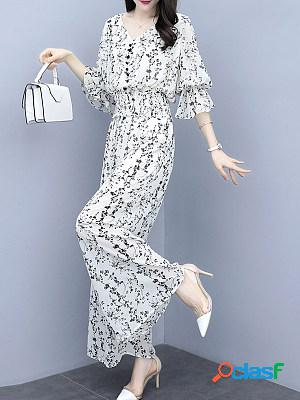 Round neck chiffon printed casual wide-leg pants suit