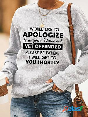 Round neck casual loose letter printed sweatshirt