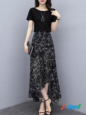 Round neck chiffon floral print dress suit