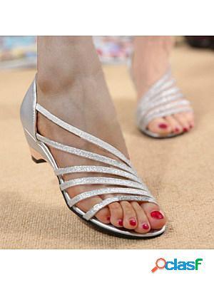 Plain chunky low heeled peep toe casual date sandals