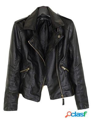 Lapel zips plain long sleeve jackets