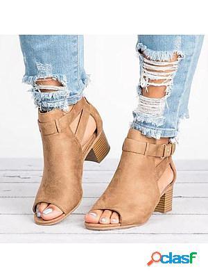 Plain chunky mid heeled velvet ankle strap peep toe date outdoor sandals