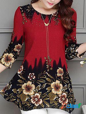Round neck chiffon printed blouse