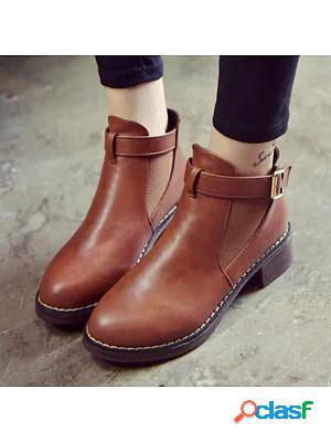 Plain chunky high heeled round toe outdoor ankle boots