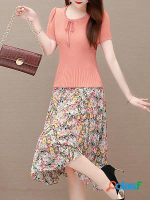 Round neck chiffon pleated floral print maxi dress