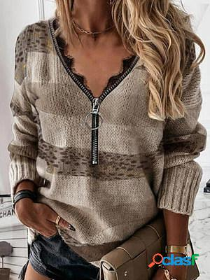 Casual leopard zipper v neck long sleeves loose sweater