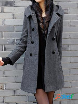 Casual solid color mid-length hooded coat