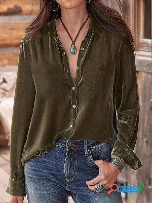 Pure Color V-neck Single-breasted Long-sleeved Casual Fashion Blouse