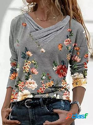 V-neck floral print button autumn and winter long-sleeved casual ladies t-shirt