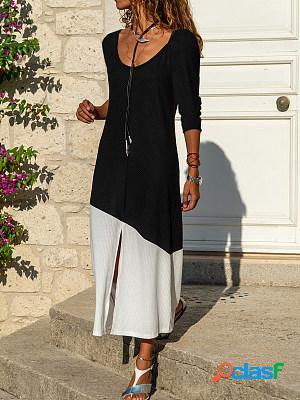 Women's casual color block long-sleeved dress