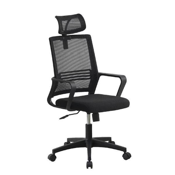 Cadeira operativa plus, tecido, malha e nylon, preto -