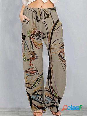Casual art print wide leg pants womens