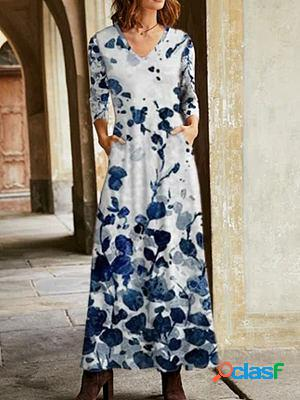 Casual flower print long sleeve v-neck casual maxi dress
