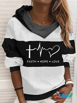 Casual letter print loose long sleeve hoodie