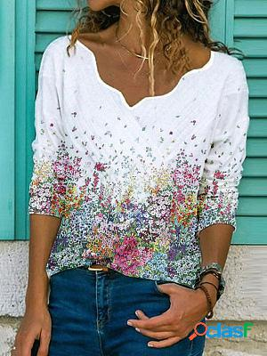 Flower print lace v-neck long-sleeved casual t-shirt