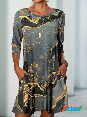 Casual print crew neck long sleeves shift dress