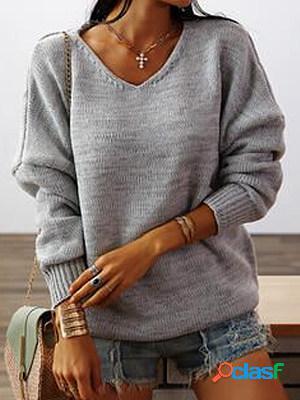 Plain v-neck long-sleeved knitted sweater